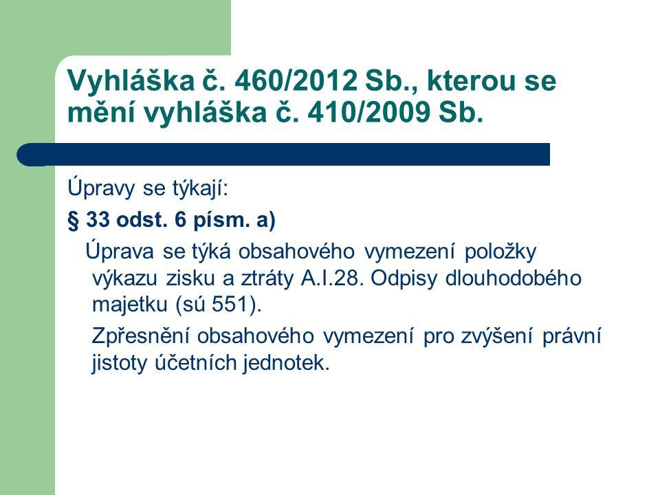Vyhláška č. 460/2012 Sb., kterou se mění vyhláška č. 410/2009 Sb. Úpravy se týkají: § 33 odst. 6 písm. a) Úprava se týká obsahového vymezení položky v