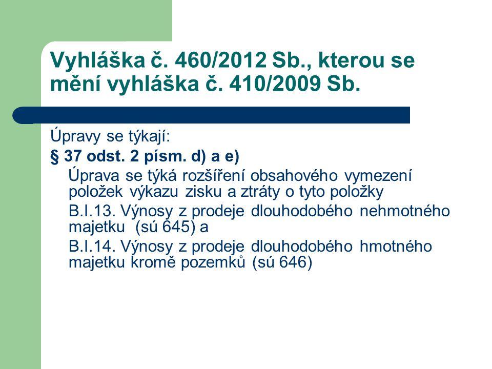 Vyhláška č. 460/2012 Sb., kterou se mění vyhláška č. 410/2009 Sb. Úpravy se týkají: § 37 odst. 2 písm. d) a e) Úprava se týká rozšíření obsahového vym