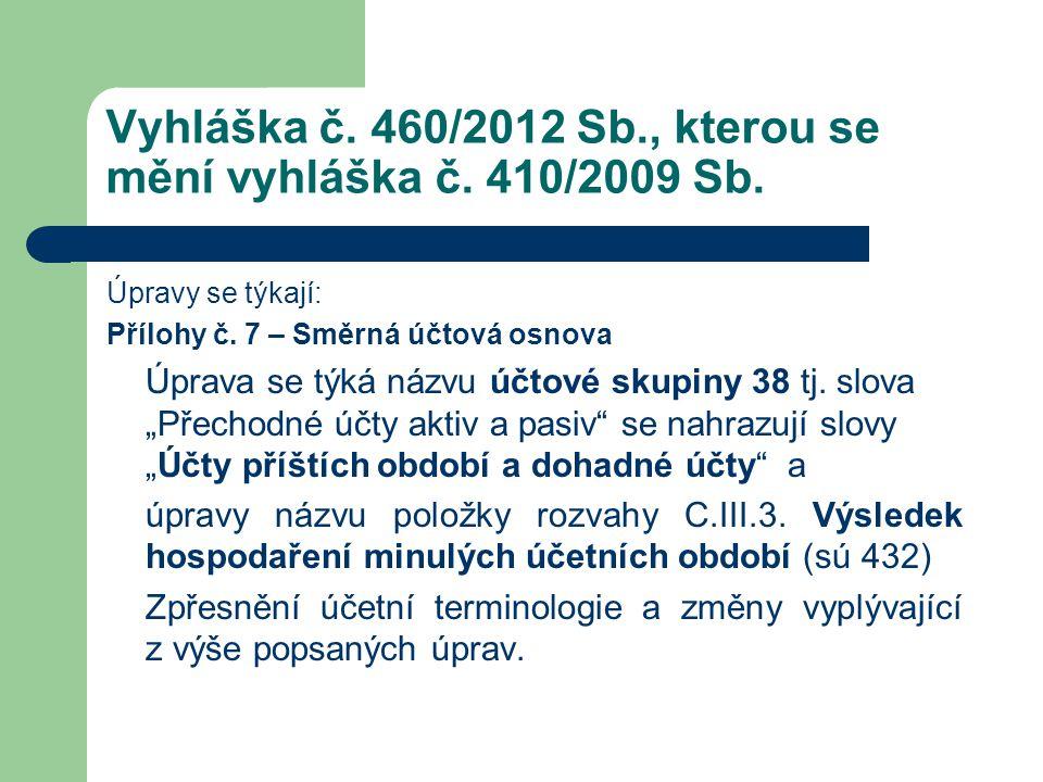 Vyhláška č. 460/2012 Sb., kterou se mění vyhláška č. 410/2009 Sb. Úpravy se týkají: Přílohy č. 7 – Směrná účtová osnova Úprava se týká názvu účtové sk