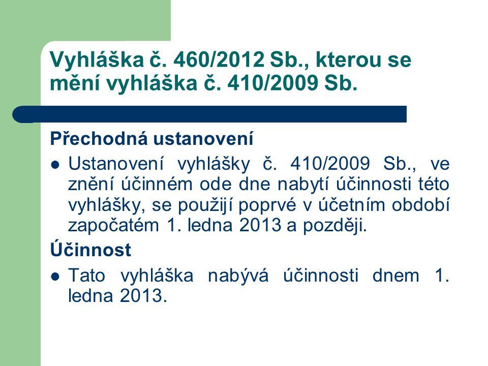 Vyhláška č. 460/2012 Sb., kterou se mění vyhláška č. 410/2009 Sb. Přechodná ustanovení  Ustanovení vyhlášky č. 410/2009 Sb., ve znění účinném ode dne