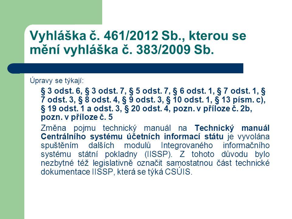 Vyhláška č. 461/2012 Sb., kterou se mění vyhláška č. 383/2009 Sb. Úpravy se týkají: § 3 odst. 6, § 3 odst. 7, § 5 odst. 7, § 6 odst. 1, § 7 odst. 1, §