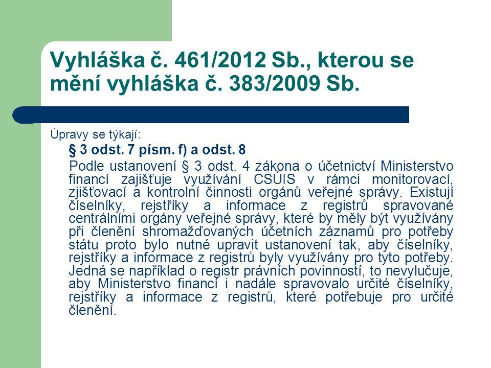 Vyhláška č. 461/2012 Sb., kterou se mění vyhláška č. 383/2009 Sb. Úpravy se týkají: § 3 odst. 7 písm. f) a odst. 8 Podle ustanovení § 3 odst. 4 zákona