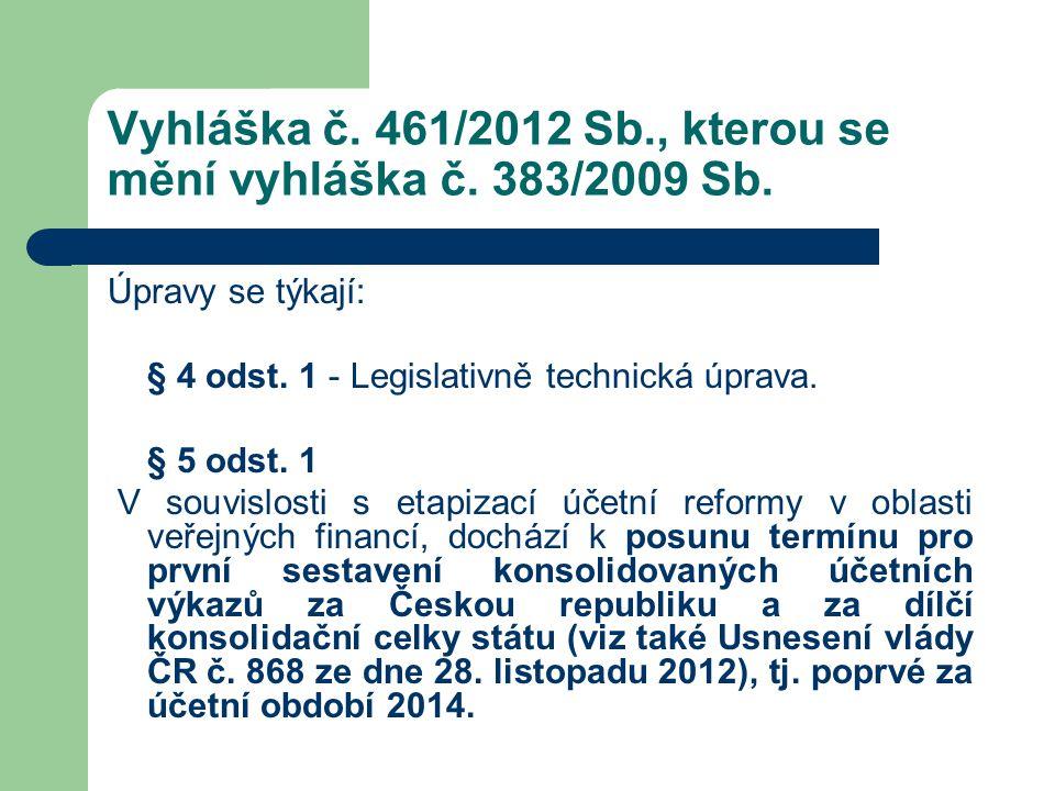 Vyhláška č. 461/2012 Sb., kterou se mění vyhláška č. 383/2009 Sb. Úpravy se týkají: § 4 odst. 1 - Legislativně technická úprava. § 5 odst. 1 V souvisl