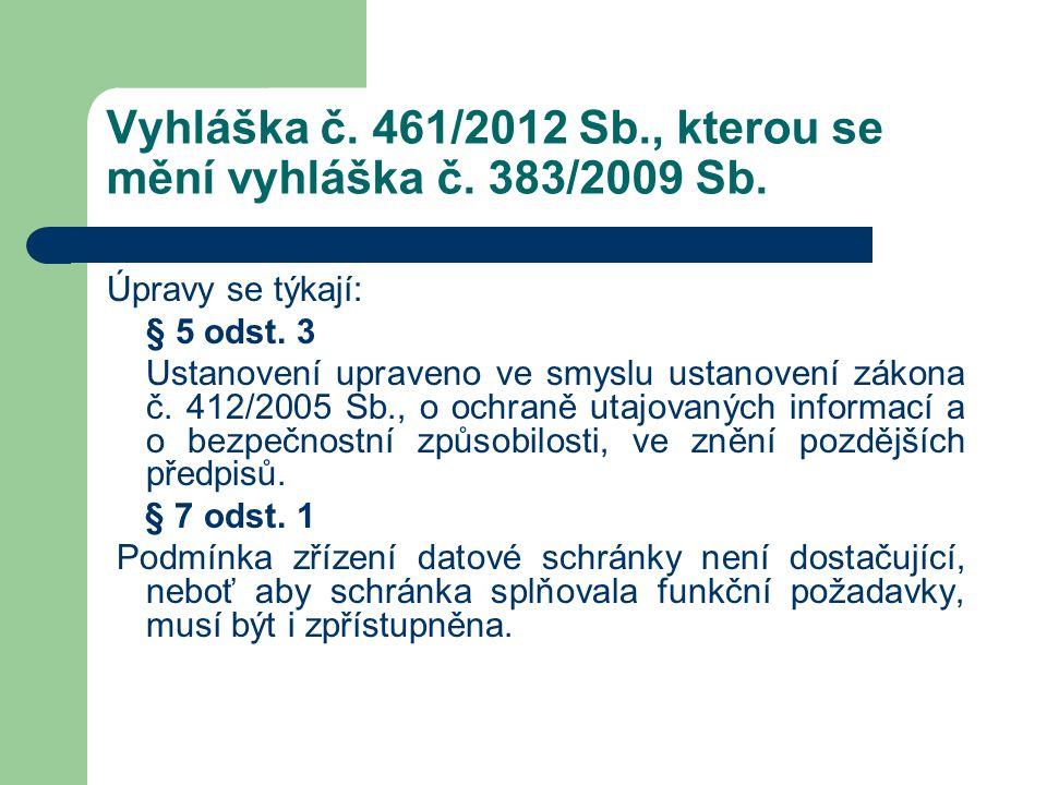 Vyhláška č. 461/2012 Sb., kterou se mění vyhláška č. 383/2009 Sb. Úpravy se týkají: § 5 odst. 3 Ustanovení upraveno ve smyslu ustanovení zákona č. 412