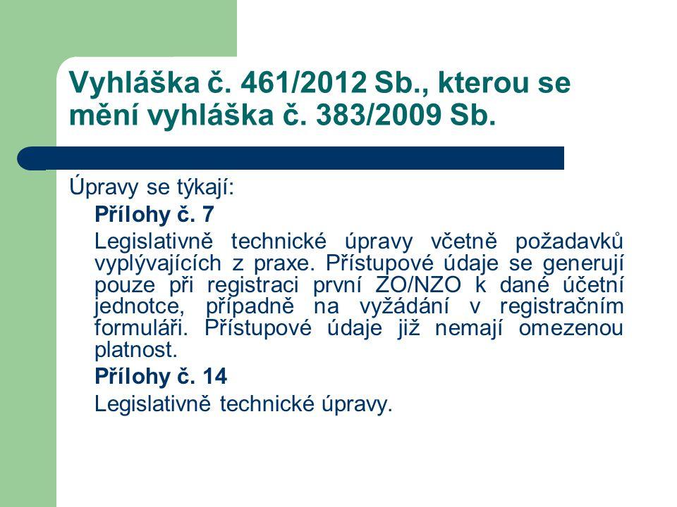 Vyhláška č. 461/2012 Sb., kterou se mění vyhláška č. 383/2009 Sb. Úpravy se týkají: Přílohy č. 7 Legislativně technické úpravy včetně požadavků vyplýv