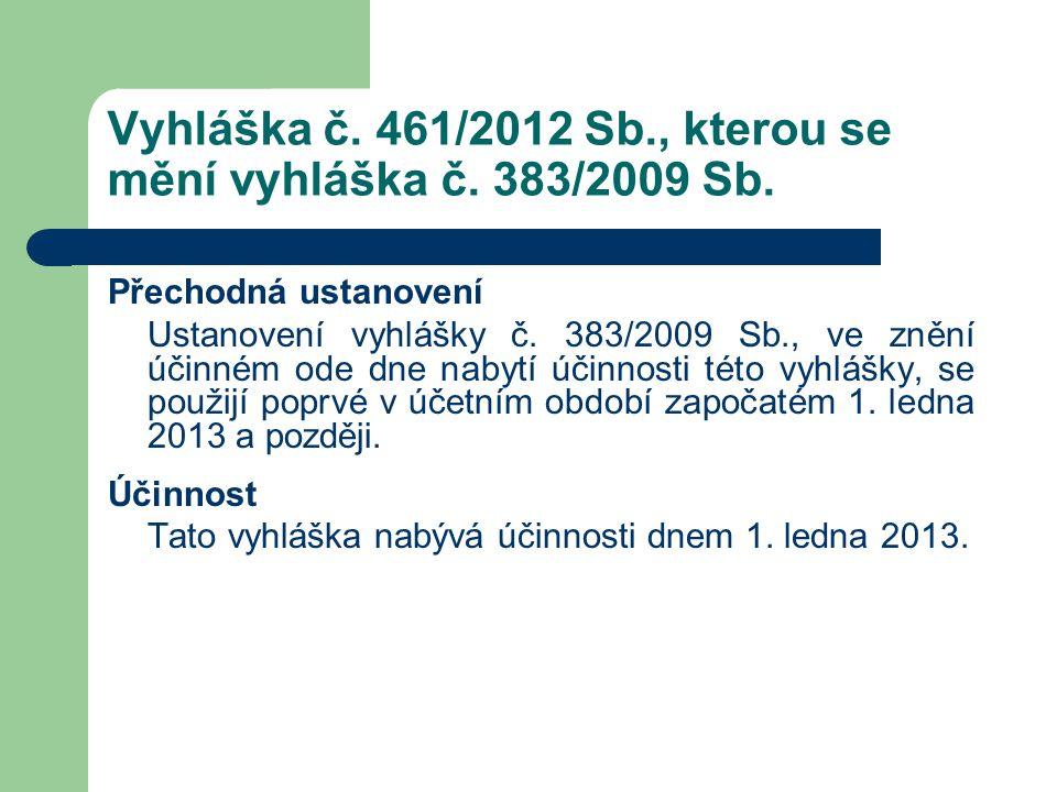 Vyhláška č. 461/2012 Sb., kterou se mění vyhláška č. 383/2009 Sb. Přechodná ustanovení Ustanovení vyhlášky č. 383/2009 Sb., ve znění účinném ode dne n