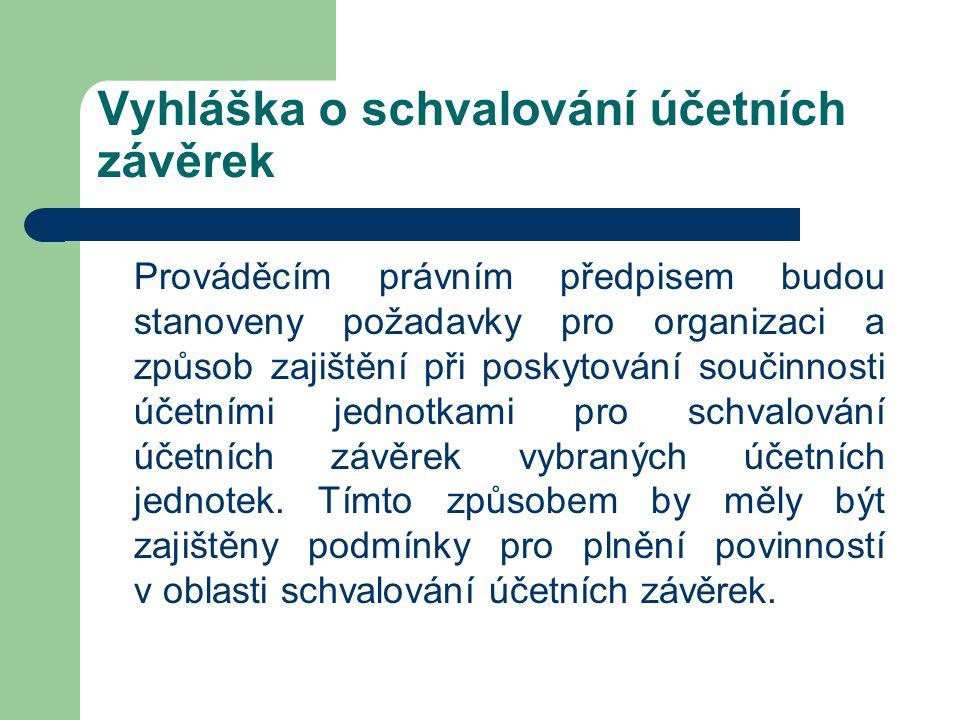 Vyhláška o schvalování účetních závěrek Prováděcím právním předpisem budou stanoveny požadavky pro organizaci a způsob zajištění při poskytování souči