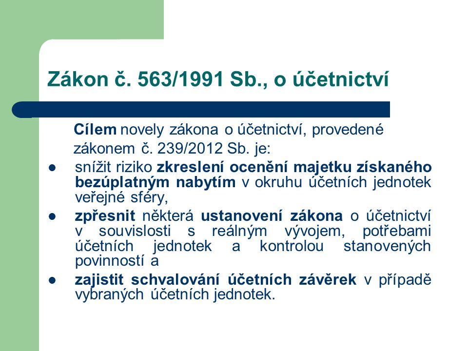 Zákon č. 563/1991 Sb., o účetnictví Cílem novely zákona o účetnictví, provedené zákonem č. 239/2012 Sb. je:  snížit riziko zkreslení ocenění majetku