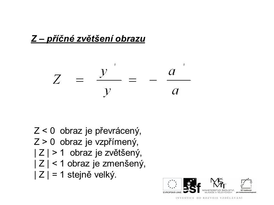 Z – příčné zvětšení obrazu Z 0 obraz je vzpřímený, | Z | > 1 obraz je zvětšený, | Z | < 1 obraz je zmenšený, | Z | = 1 stejně velký.