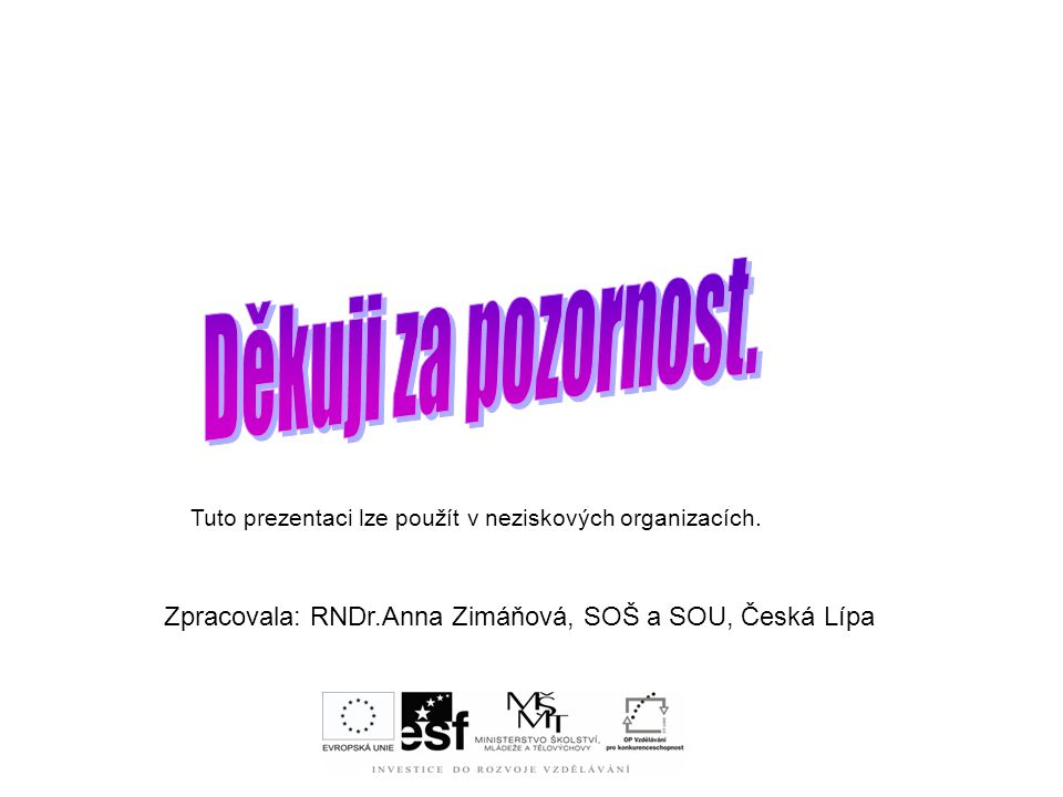 Tuto prezentaci lze použít v neziskových organizacích. Zpracovala: RNDr.Anna Zimáňová, SOŠ a SOU, Česká Lípa