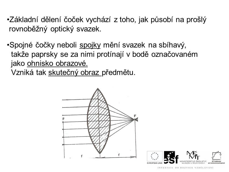 •Základní dělení čoček vychází z toho, jak působí na prošlý rovnoběžný optický svazek. •Spojné čočky neboli spojky mění svazek na sbíhavý, takže paprs