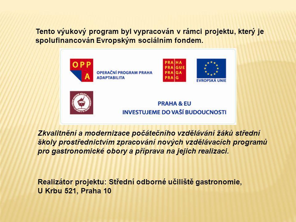 Tento výukový program byl vypracován v rámci projektu, který je spolufinancován Evropským sociálním fondem. Zkvalitnění a modernizace počátečního vzdě
