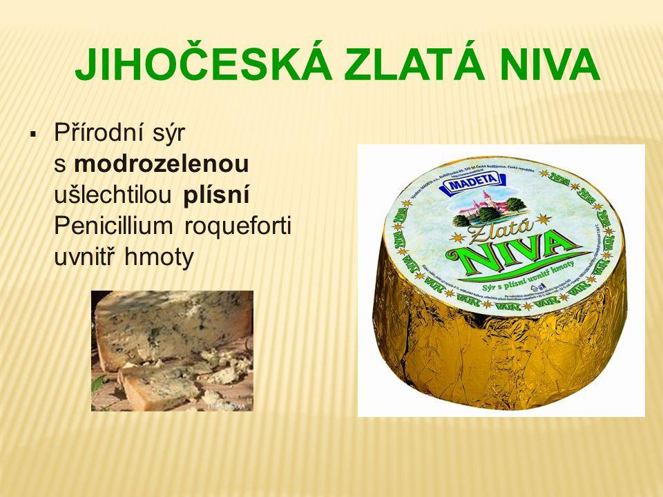 JIHOČESKÁ ZLATÁ NIVA  Přírodní sýr s modrozelenou ušlechtilou plísní Penicillium roqueforti uvnitř hmoty