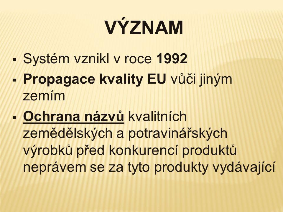 VÝZNAM  Systém vznikl v roce 1992  Propagace kvality EU vůči jiným zemím  Ochrana názvů kvalitních zemědělských a potravinářských výrobků před konk