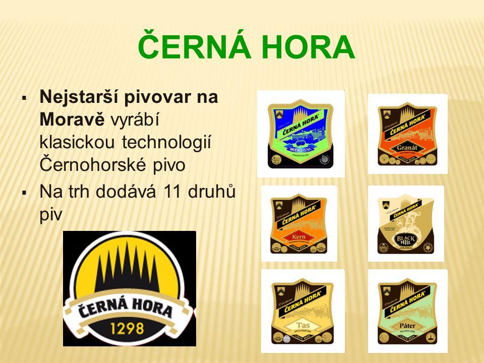 ČERNÁ HORA  Nejstarší pivovar na Moravě vyrábí klasickou technologií Černohorské pivo  Na trh dodává 11 druhů piv