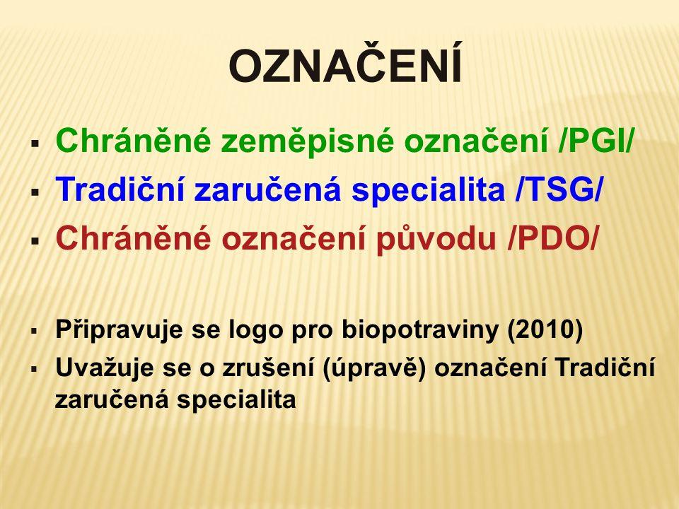 OZNAČENÍ  Chráněné zeměpisné označení /PGI/  Tradiční zaručená specialita /TSG/  Chráněné označení původu /PDO/  Připravuje se logo pro biopotravi