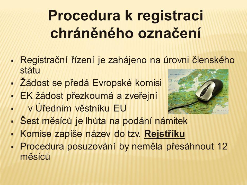 Procedura k registraci chráněného označení  Registrační řízení je zahájeno na úrovni členského státu  Žádost se předá Evropské komisi  EK žádost př