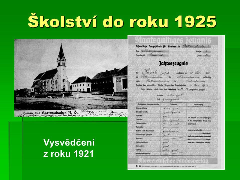 Školství do roku 1925 Vysvědčení z roku 1921