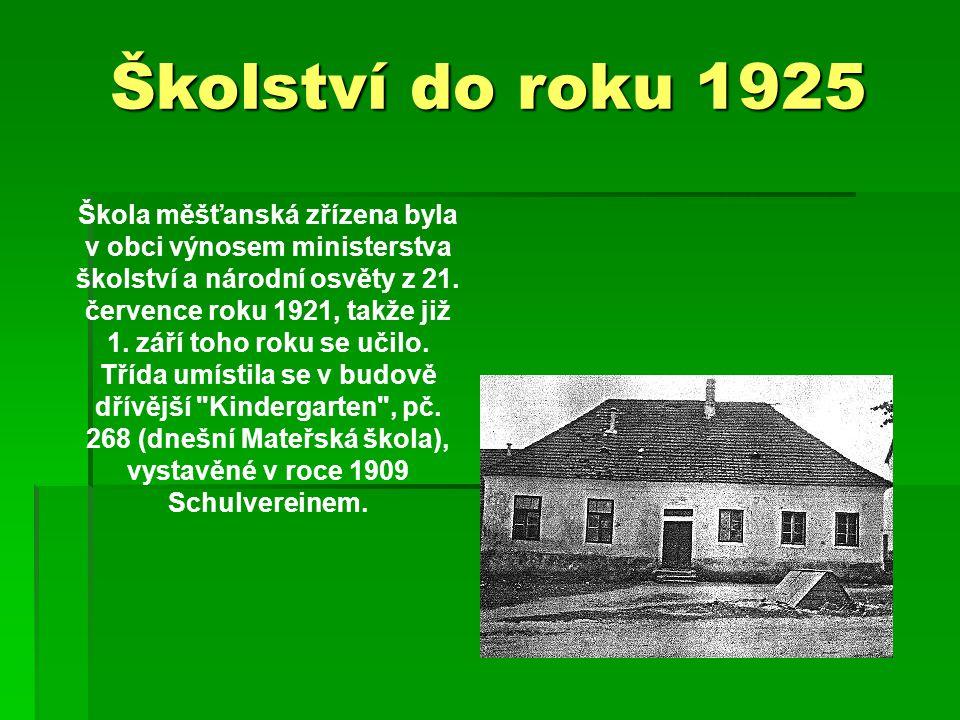 Školství do roku 1925 Škola měšťanská zřízena byla v obci výnosem ministerstva školství a národní osvěty z 21.