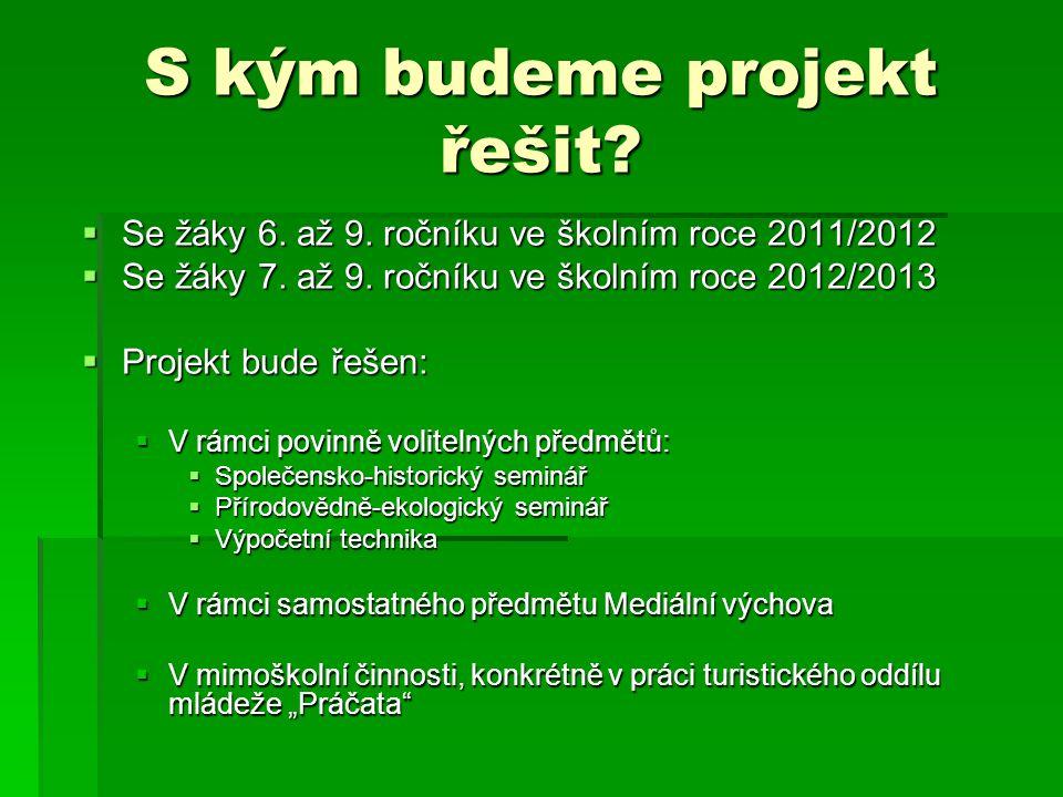 S kým budeme projekt řešit. Se žáky 6. až 9. ročníku ve školním roce 2011/2012  Se žáky 7.