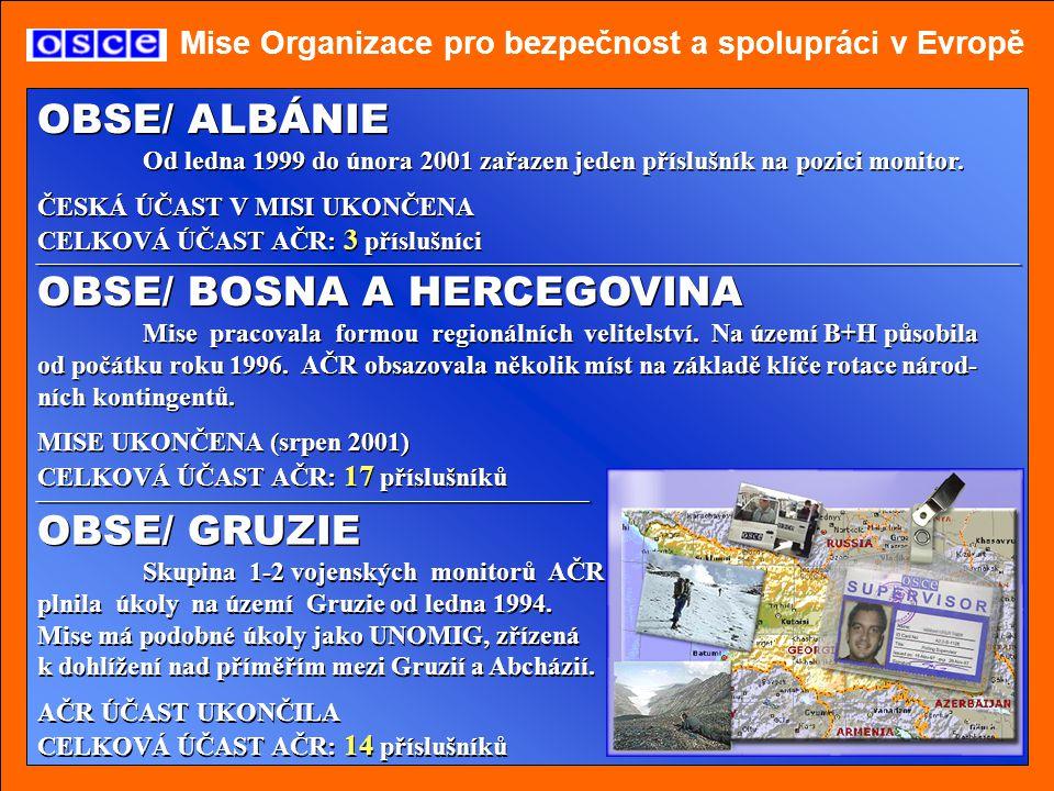 Mise Organizace pro bezpečnost a spolupráci v Evropě OBSE/ MOLDÁVIE Mise je řízena CPC/OCSE ve Vídni.