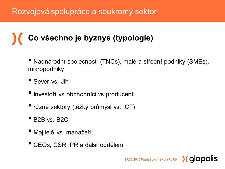 Co všechno je byznys (typologie) • Nadnárodní společnosti (TNCs), malé a střední podniky (SMEs), mikropodniky • Sever vs.