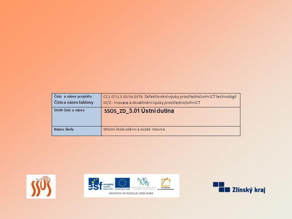 Číslo a název projektu Číslo a název šablony CZ.1.07/1.5.00/34.0378 Zefektivnění výuky prostřednictvím ICT technologií III/2 - Inovace a zkvalitnění výuky prostřednictvím ICT DUM číslo a název SSOS_ZD_ 3.01 Ústní dutina Název školyStřední škola oděvní a služeb Vizovice