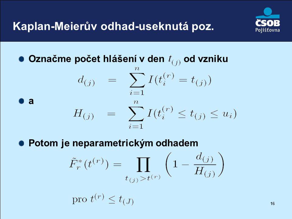 16 Kaplan-Meierův odhad-useknutá poz. Označme počet hlášení v den od vzniku a Potom je neparametrickým odhadem