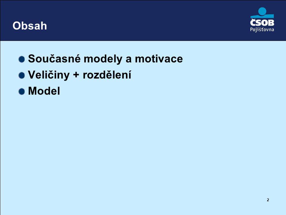 2 Obsah Současné modely a motivace Veličiny + rozdělení Model