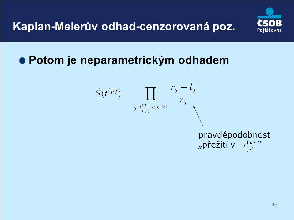 """30 Kaplan-Meierův odhad-cenzorovaná poz. Potom je neparametrickým odhadem pravděpodobnost """"přežití v """""""