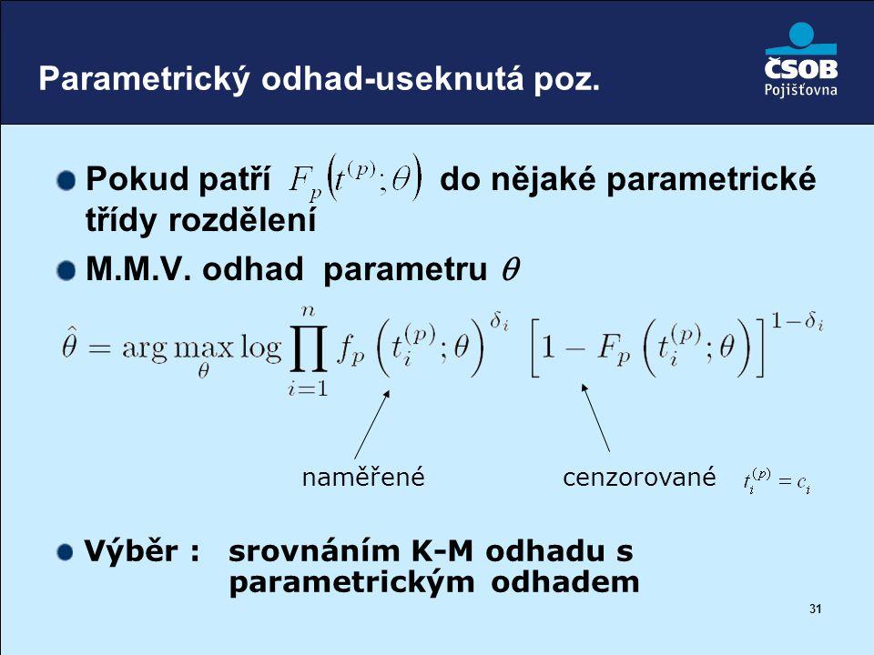 31 Parametrický odhad-useknutá poz. Pokud patří do nějaké parametrické třídy rozdělení M.M.V. odhad parametru  cenzorovanénaměřené Výběr : srovnáním