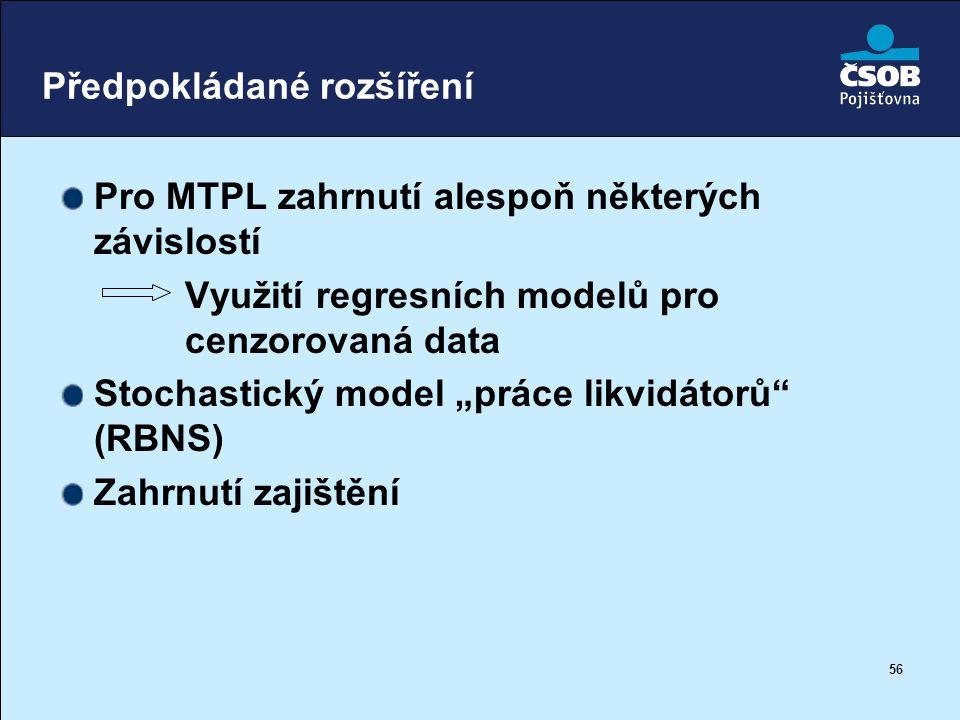 """56 Předpokládané rozšíření Pro MTPL zahrnutí alespoň některých závislostí Využití regresních modelů pro cenzorovaná data Stochastický model """"práce lik"""