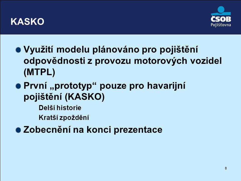 """8 KASKO Využití modelu plánováno pro pojištění odpovědnosti z provozu motorových vozidel (MTPL) První """"prototyp"""" pouze pro havarijní pojištění (KASKO)"""
