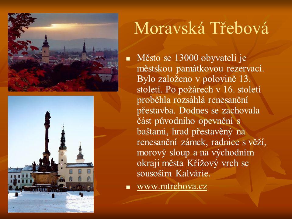 Polička   Malebné historické město s 9000 obyvateli rozložené v klínu kopců krajiny Českomoravské vysočiny. Město bylo založeno v r. 1265 Přemyslem