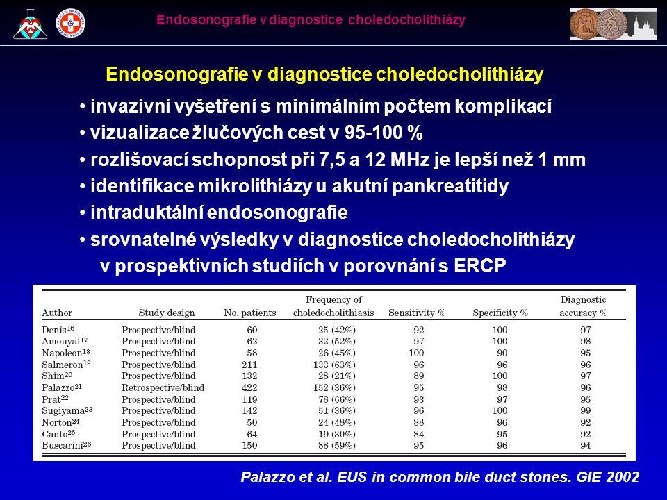 Endosonografie v diagnostice choledocholithiázy • invazivní vyšetření s minimálním počtem komplikací • vizualizace žlučových cest v 95-100 % • rozlišo