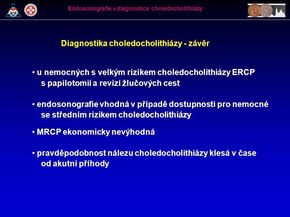 Diagnostika choledocholithiázy - závěr • u nemocných s velkým rizikem choledocholithiázy ERCP s papilotomií a revizí žlučových cest • endosonografie v