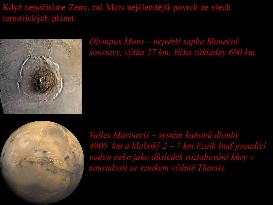 Když nepočítáme Zemi, má Mars nejčlenitější povrch ze všech terestrických planet. Olympus Mons – největší sopka Sluneční soustavy, výška 27 km, šířka