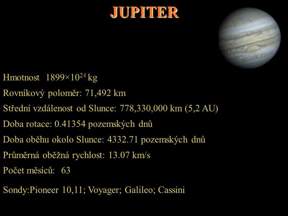 JUPITER Hmotnost 1899×10 24 kg Rovníkový poloměr: 71,492 km Střední vzdálenost od Slunce: 778,330,000 km (5,2 AU) Doba rotace: 0.41354 pozemských dnů