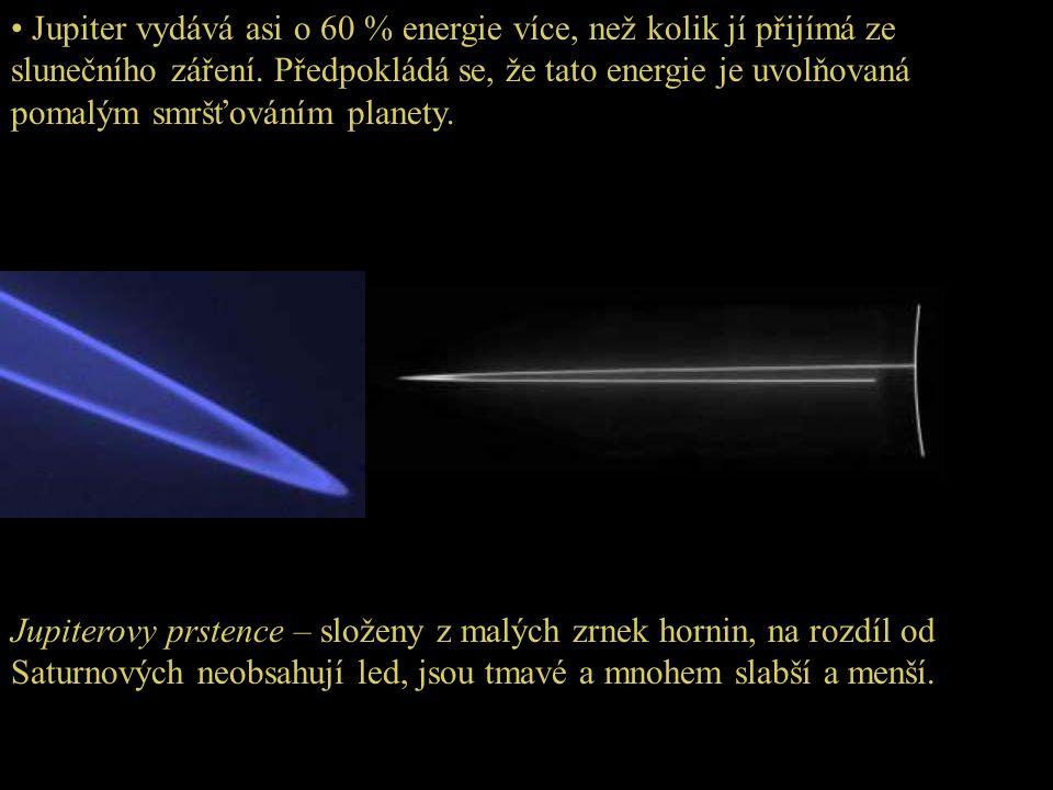 • Jupiter vydává asi o 60 % energie více, než kolik jí přijímá ze slunečního záření. Předpokládá se, že tato energie je uvolňovaná pomalým smršťováním