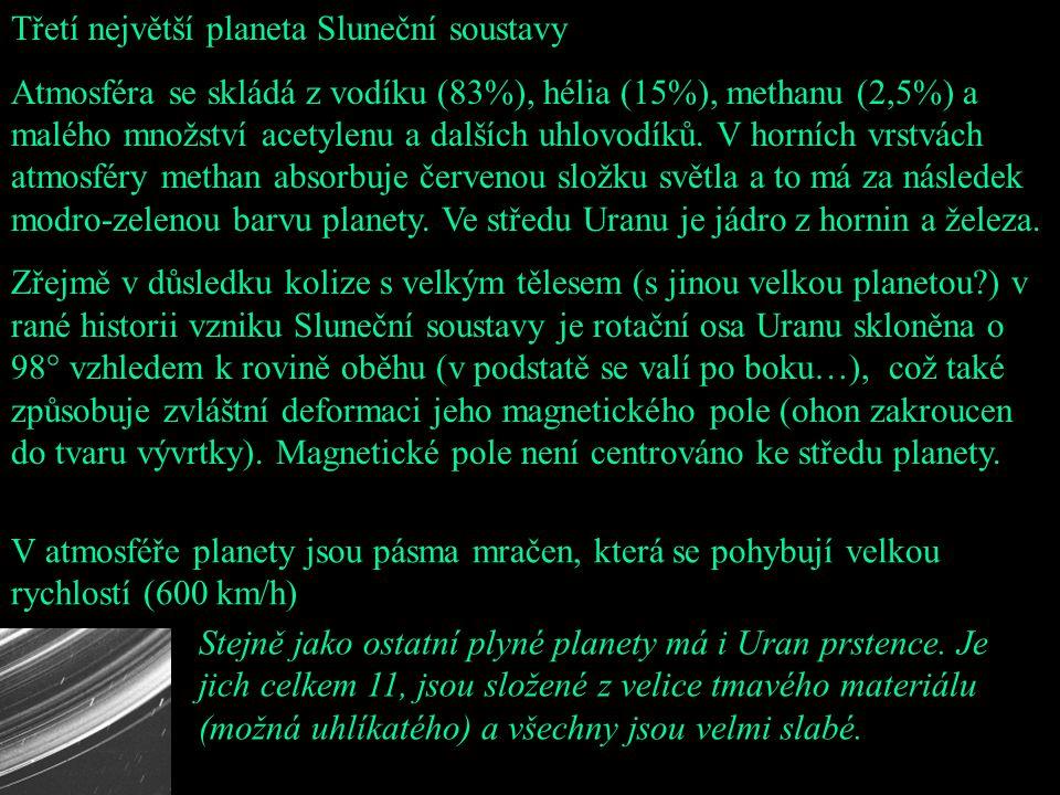 Třetí největší planeta Sluneční soustavy Atmosféra se skládá z vodíku (83%), hélia (15%), methanu (2,5%) a malého množství acetylenu a dalších uhlovod