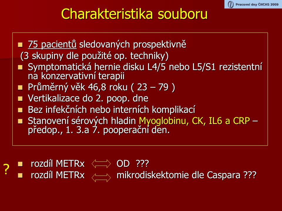 Porovnání METRx / klasická disketomie (OD) svalové poškození (t-test)   Myoglobin Norma do 117ug/l  Kreatinkinasa Norma do 2,85ukat/l P=0,0002P=0,0011 P=0,0005(p=0,08)P=0,03 (p=0,092) 250,08 9,88 5,52 4,25 6,59 108,5