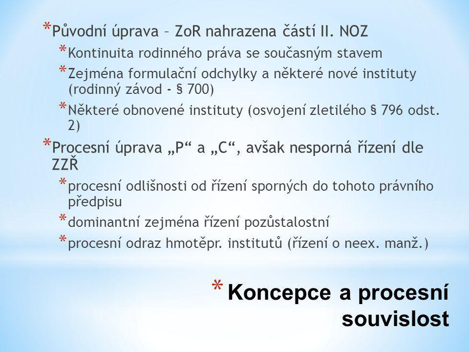 * Koncepce a procesní souvislost * Původní úprava – ZoR nahrazena částí II.