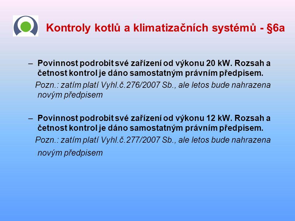 Kontroly kotlů a klimatizačních systémů - §6a –Povinnost podrobit své zařízení od výkonu 20 kW. Rozsah a četnost kontrol je dáno samostatným právním p