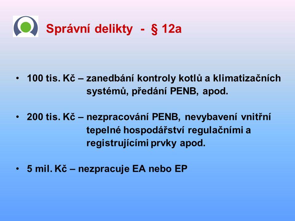 Správní delikty - § 12a •100 tis. Kč – zanedbání kontroly kotlů a klimatizačních systémů, předání PENB, apod. •200 tis. Kč – nezpracování PENB, nevyba