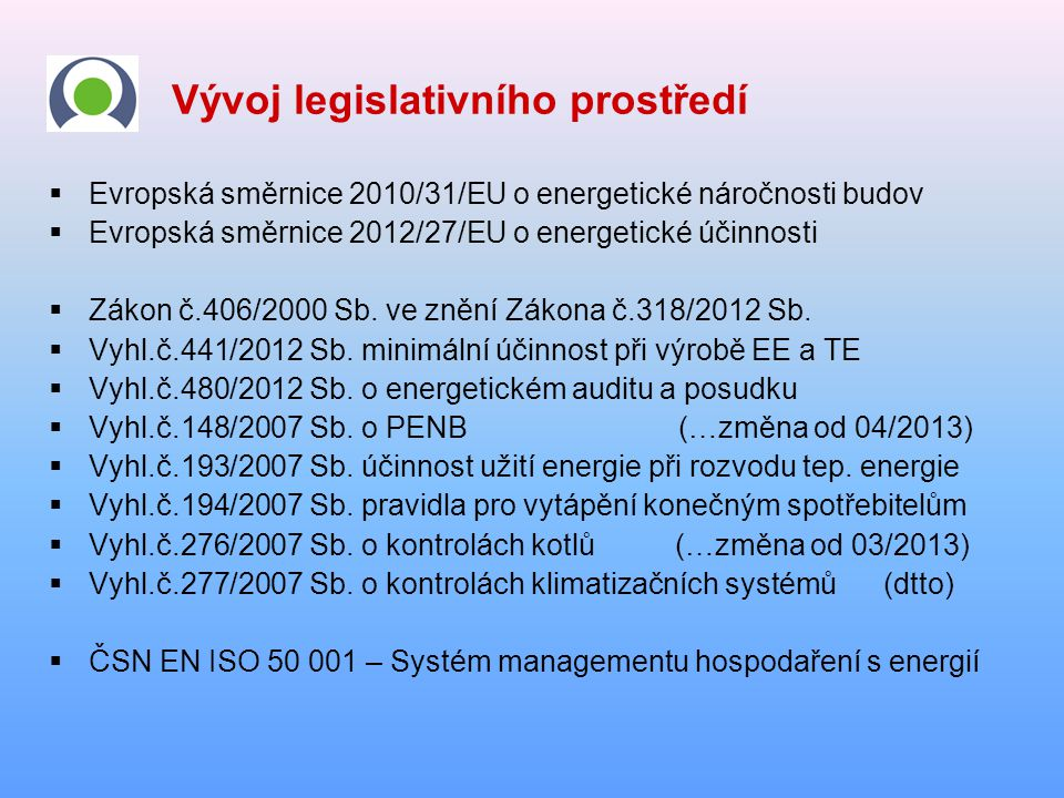 Vývoj legislativního prostředí  Evropská směrnice 2010/31/EU o energetické náročnosti budov  Evropská směrnice 2012/27/EU o energetické účinnosti 