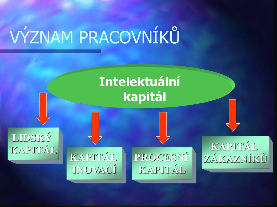 VÝZNAM PRACOVNÍKŮ Intelektuální kapitál LIDSKÝKAPITÁL KAPITÁLINOVACÍPROCESNÍKAPITÁL KAPITÁLZÁKAZNÍKŮ