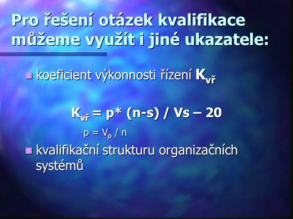 Kvalifikační koeficient může nabývat tří hodnot:  K = 1….kvalifikační předpoklady odpovídají kvalifikačním požadavkům  K  1….kvalifikační předpokla