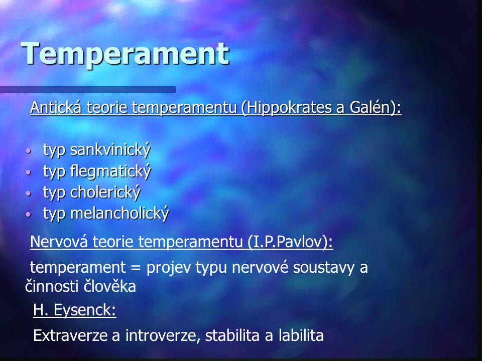 Temperament Antická teorie temperamentu (Hippokrates a Galén): Antická teorie temperamentu (Hippokrates a Galén): • typ sankvinický • typ flegmatický • typ cholerický • typ melancholický Nervová teorie temperamentu (I.P.Pavlov): temperament = projev typu nervové soustavy a činnosti člověka H.
