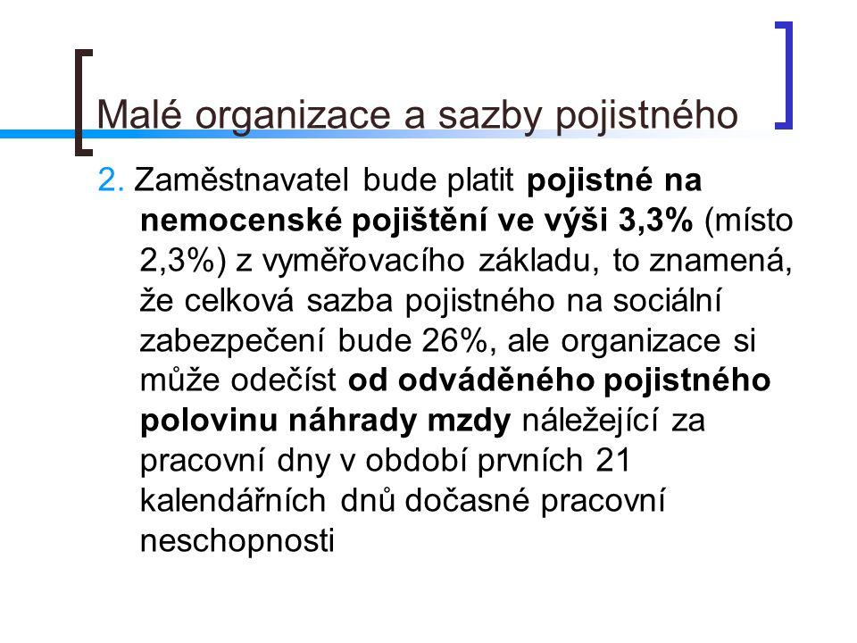 Malé organizace a sazby pojistného 2.