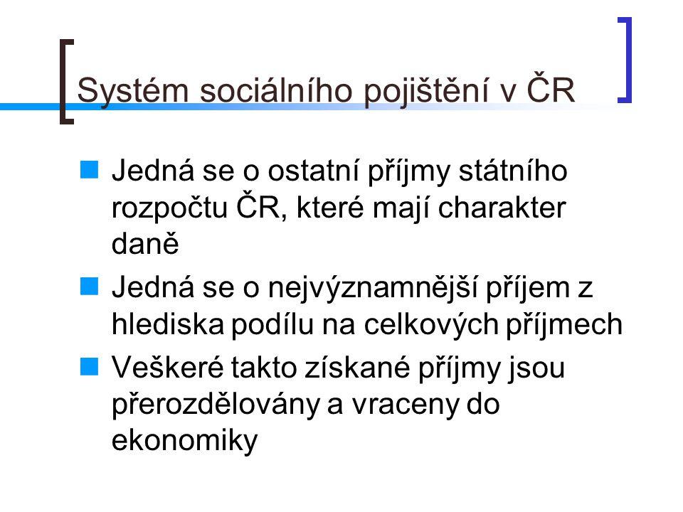 Systém sociálního pojištění v ČR  Jedná se o ostatní příjmy státního rozpočtu ČR, které mají charakter daně  Jedná se o nejvýznamnější příjem z hlediska podílu na celkových příjmech  Veškeré takto získané příjmy jsou přerozdělovány a vraceny do ekonomiky